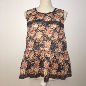 Current Elliott Floral Peplum W/ Nape Key Hole